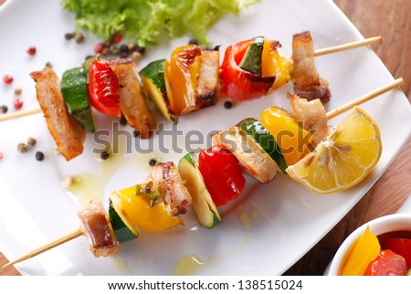 pork skewers with peppers and zucchini