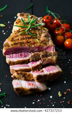 Pork steak grilled