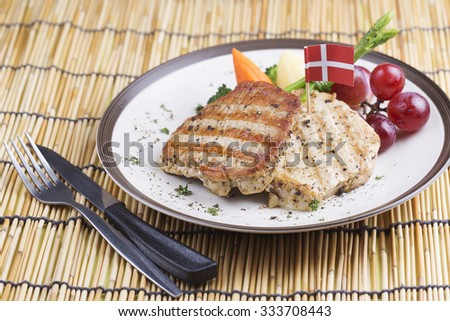 Pork Steak on the Plate European Style