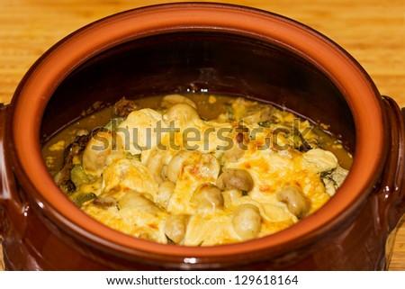 Pork stew with mushrooms - stock photo