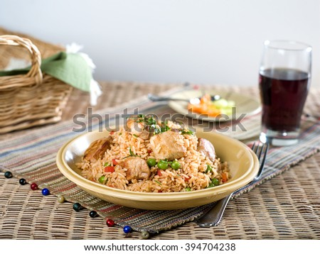 Pork with vegetable fried rice - stock photo