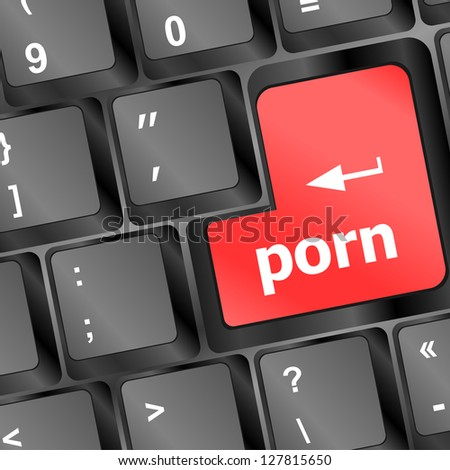 Porn button on computer pc keyboard, raster