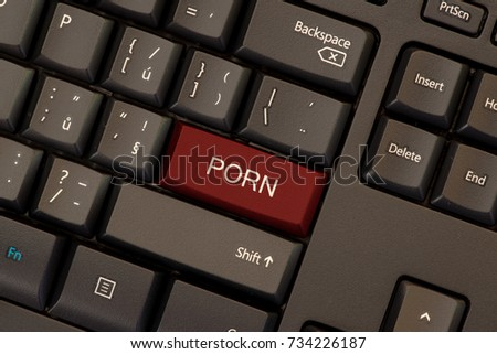 Porn concept red button on keyboard