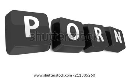 PORN written in white on black computer keys. 3d illustration. Isolated background. - stock photo