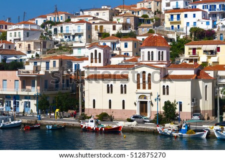 Poros. Greek island in southern part of Saronic Gulf. The popular weekend destination for Athenian travellers.