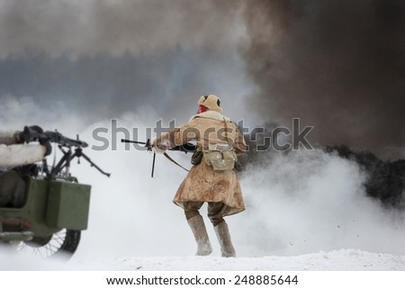 POROZHKI, LENINGRAD REGION, RUSSIA - JAN 25: Historical reenactment of the Operation January Thunder (1944) on January 25, 2015 in Porozhki, Leningrad region, Russia.