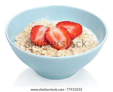 porridge with fresh strawberry isolated - stock photo