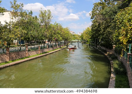 Porsuk River passing through Eskisehir City, Turkey
