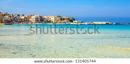 Port and beach at Mondello, Sicily. - stock photo
