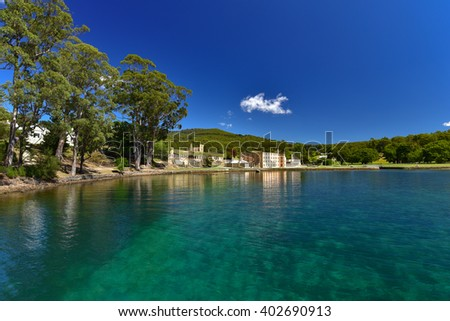 Port Arthur and the water of the harbor in Tasmania, Australia
