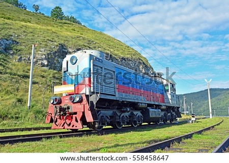 PORT BAIKAL, RUSSIA - AUGUST 24 - A Russian Railways (RZD) diesel loco (steam locomotive) at Baykal station on the Circum-Baikal raiway on August 24, 2016 in Baikal, Russia