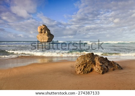 Port Campbell national park near Great Ocean road in Victoria, Australia. GIbson steps beach with single lonely sandstone apostle standing in a distance