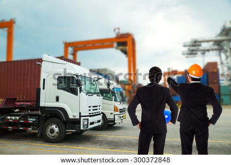 Port container terminal for transporatation your product in the morning. - stock photo