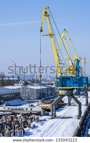 Port cranes in the industrial area of Kiev