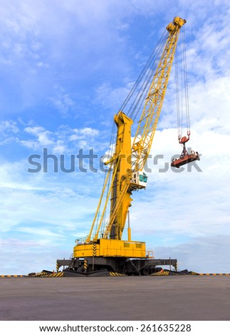 port cranes with blue sky - stock photo