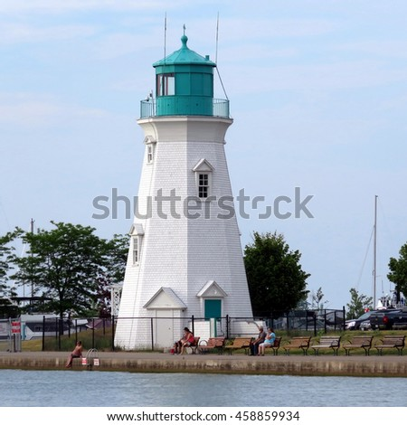 Port Dalhousie, Canada - June 26, 2016: Lighthouse on a quay on shore of Lake Ontario.