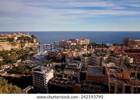 Port de Fontveille panorama. Monte Carlo, daytime - stock photo