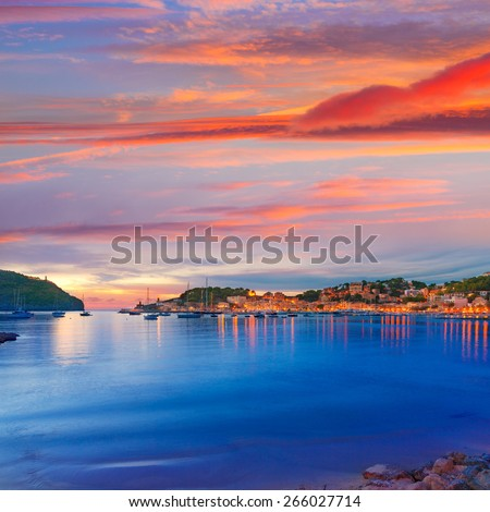Port de Soller sunset in Majorca at Balearic island of Mallorca Spain - stock photo