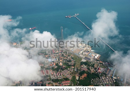 Port Dickson, Malaysia, view from an airplane - stock photo