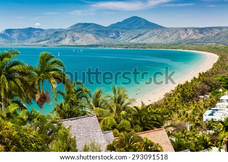Port Douglas beach and ocean on sunny day, Queensland, Australia - stock photo