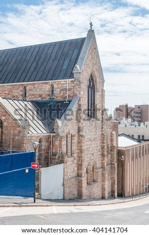 PORT ELIZABETH, SOUTH AFRICA - FEBRUARY 27, 2016: The historic St Augustines Catholic Cathedral, completed in 1866, with the Mac Sherry Hall to its right - stock photo