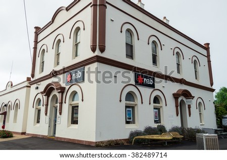 Port Fairy, Australia - January 24, 2016: branch of the National Australia Bank in Port Fairy.  The National Australia Bank is one of the four largest banks in Australia.