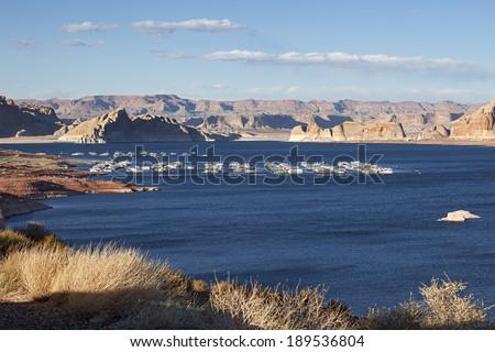 Port for Yachts at Famous Lake Powell, Arizona - stock photo