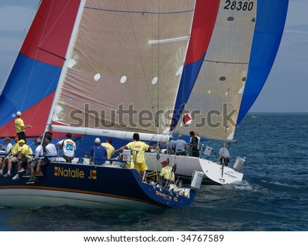 PORT HURON, MI - JULY 25: Close up of participants sail away at the start of the Bayview Port Huron to Mackinac Race  July 25, 2009 in Port Huron, MI.
