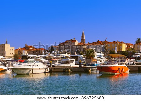 Port in Budva Montenegro - architecture and travel background