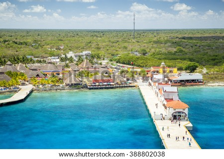 Port in Puerta Maya - Cozumel, Mexico - stock photo