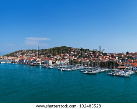 Port in Trogir at Croatia - architecture background - stock photo
