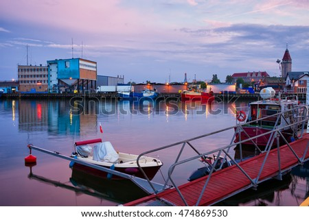 Port in Wladyslawowo town at twilight in Poland