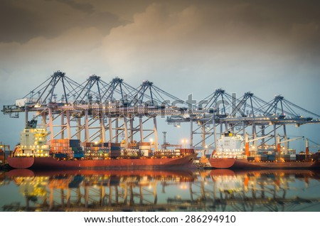 Port industry in the twilight - stock photo