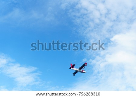 Port Klang, Malaysia - November 16th, 2017 : Maritime Malaysia plane flying to test the plane. Selective focus
