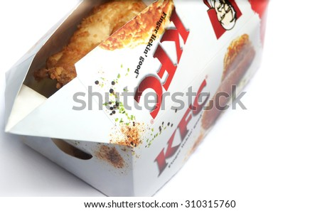 PORT-LOUIS, MAURITIUS - August ?20, 2015: Kentucky Fried Chicken Box on white, KFC is the worlds second largest restaurant chain - stock photo