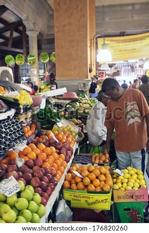 PORT LOUIS, MAURITIUS-JANUARY 07: Central Market of Port Louis on January 07, 2014 in Port Louis, Mauritius. The Central Market is a tourist attraction and landmarks of the capital. - stock photo
