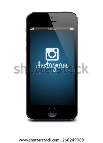 Port-Louis, Mauritius - March 26 2015 Iphone 5s with instagram logotype on the screen on white background Instagram is an online mobile photo-sharing video-sharing and social networking - stock photo