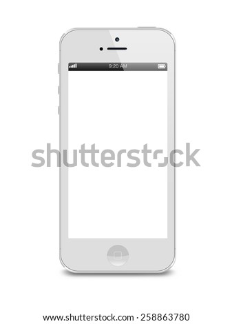 Port-Louis, Mauritius - March 01, 2015. White Iphone 5 with white blank screen. Isolated on white - stock photo