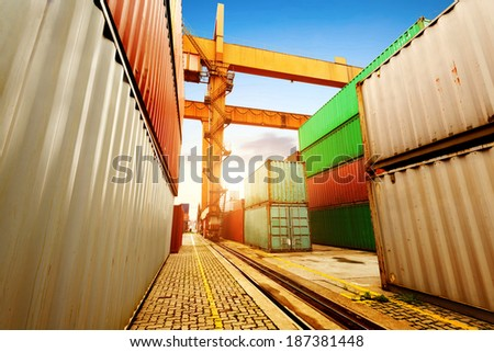 Port of containers and cranes, dock dusk landscape. - stock photo