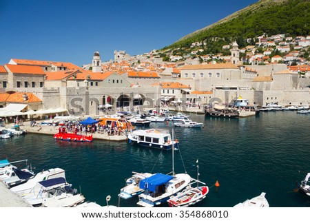 Port of Dubrovnik and red roofs from the old town walls, Croatia