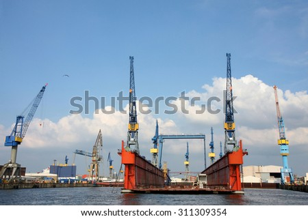 Port of Hamburg on the river Elbe, the largest port in Germany - stock photo