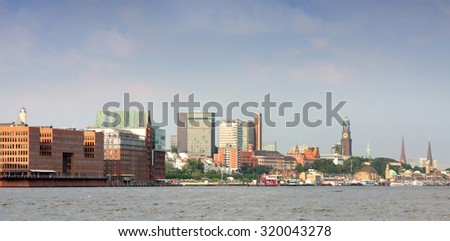 Port of Hamburger with harbor, Hamburg, Germany - stock photo
