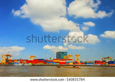 Port of import and export goods. - stock photo