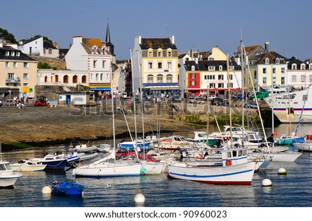 Port of Le Palais, main town of Belle Ile (Beautiful island), in the Morbihan department in Brittany in north-western France