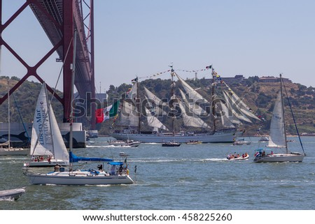Port of Lisbon, Portugal - Jule 2016 - the Tall Ships Races. SAIL is the biggest nautical event ever.