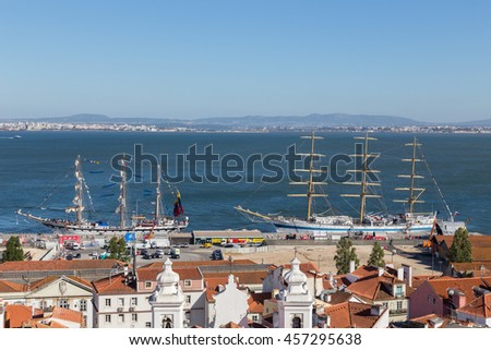 Port of Lisbon, Portugal - July 2016 - the Tall Ships Races. SAIL is the biggest nautical event ever.