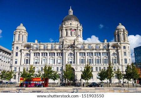 "Port of Liverpool Building. One of the famous ""Three Graces"" buildings at the Pier Head, Liverpool, England, United Kingdom"