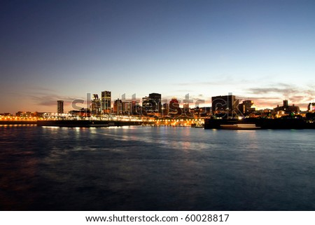 Port of Montreal and Downtown in the Background at evening