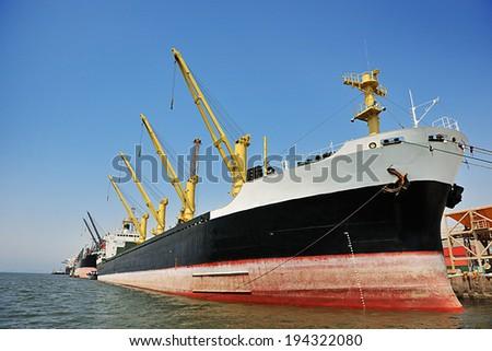 Port of Paranagua, Parana State, Brazil  Grain ships at port - stock photo