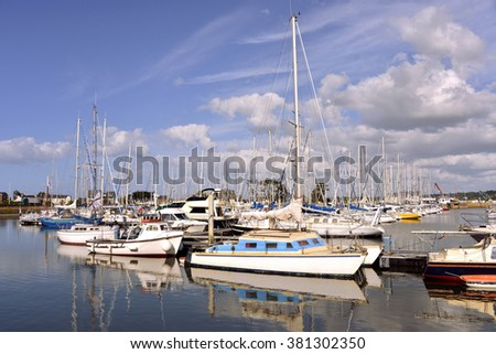 Port of Perros-Guirec, a commune in the Cotes-Armor department in Brittany in northwestern France - stock photo